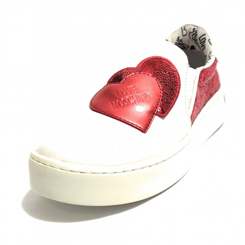 SCARPA DONNA LOVE MOSCHINO SLIP ON IN PELLE BIANCO ROSSO DS19MO05