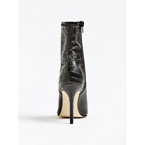 Ankle boots neri stampa cocco, tacco 9,5 cm