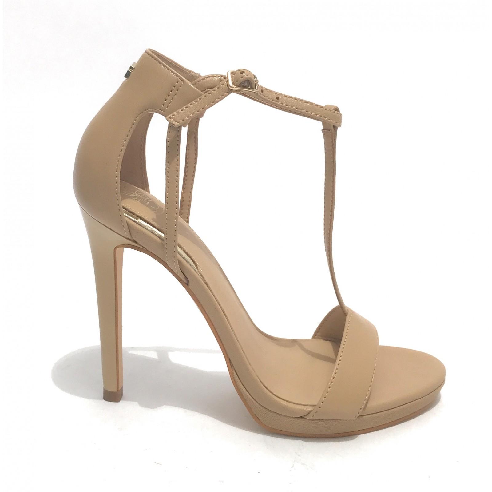 Scarpe Guess sandalo con tacco tc 110 mod Tecru in pelle beige donna DS20GU Taglia scarpa 35 EU
