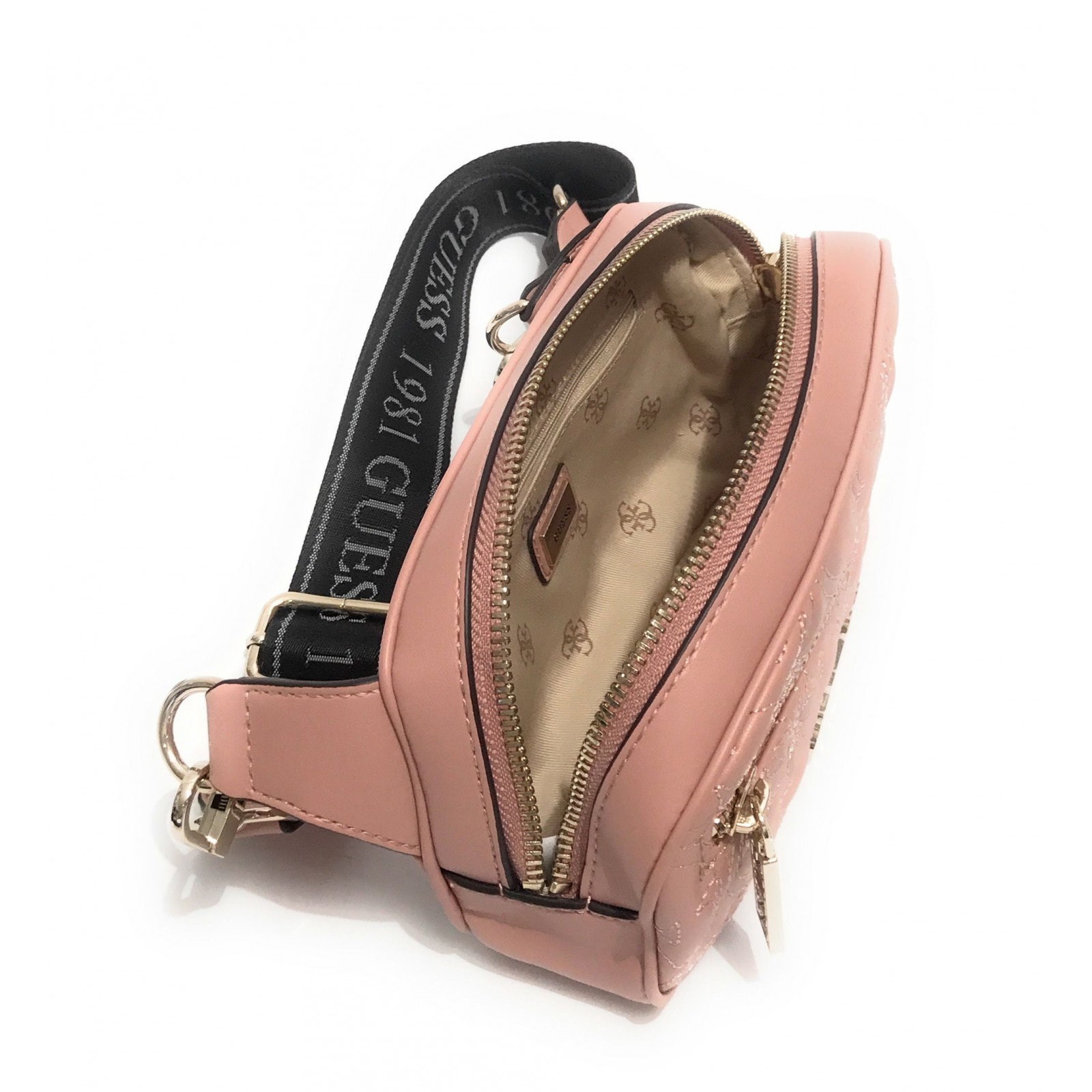 Borsa Guess marsupio Guess Manhattan mini Belt Bag ecopelle rosa blush multi logo trapuntato BS20GU160