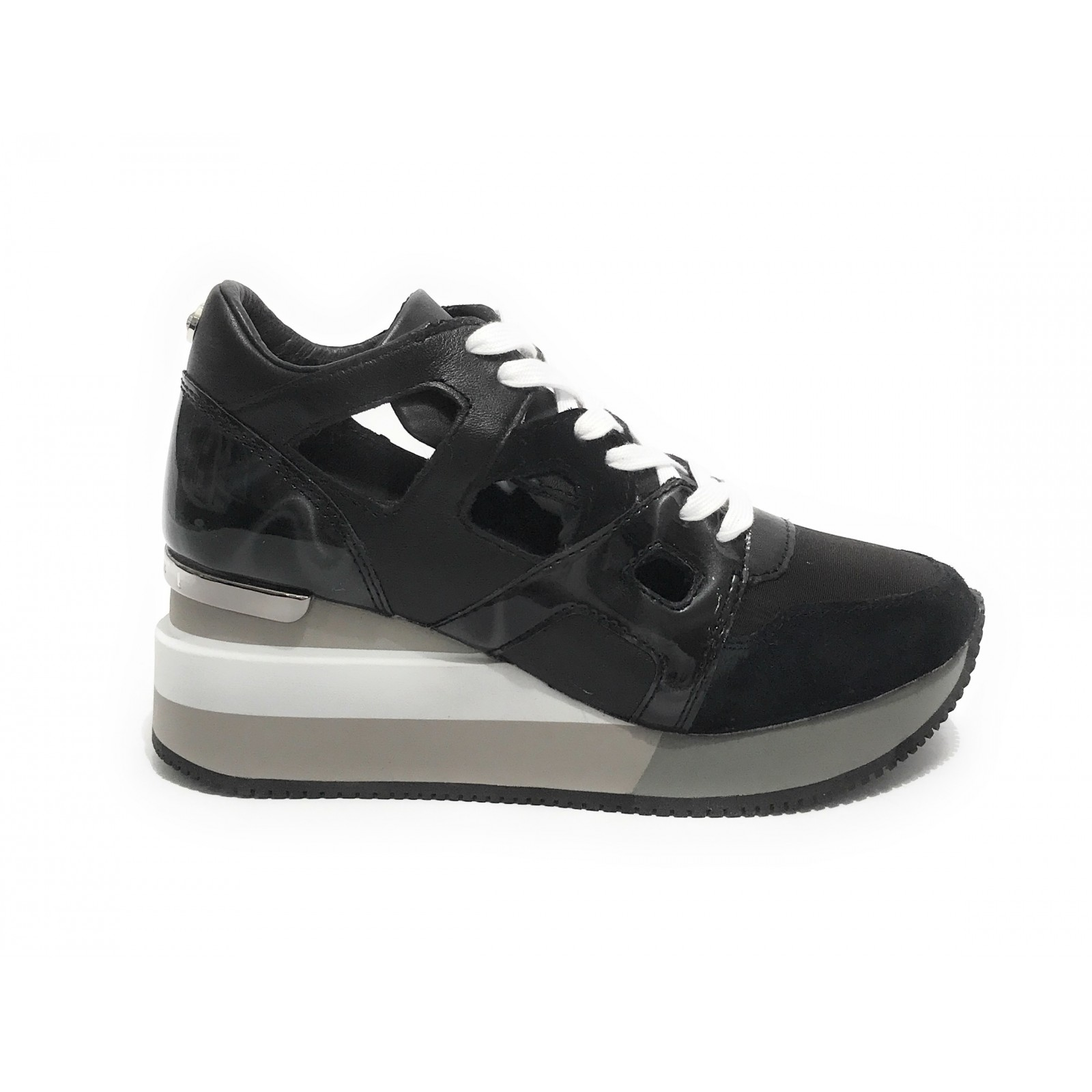 Sneaker Apepazza mod Heather fondo zeppa in pelle nero