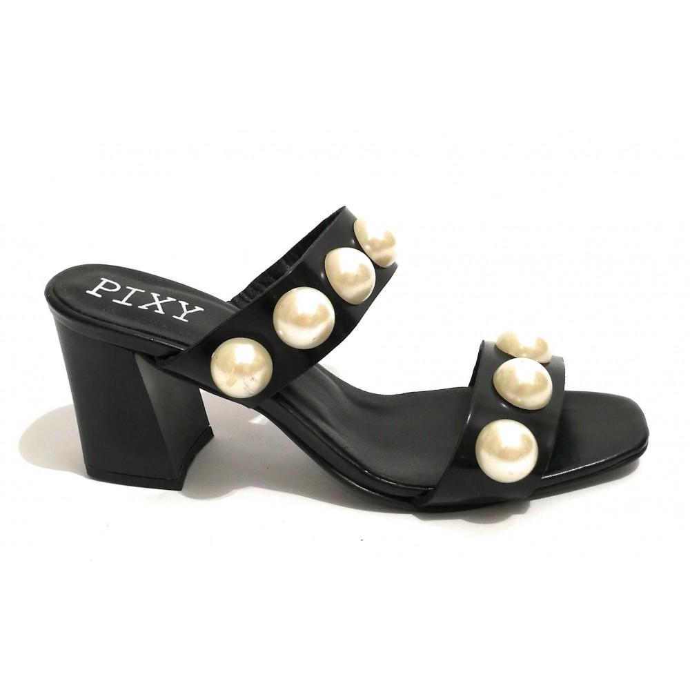 Donna Tc Scarpe Nero Sandalo Pelle Tacco Pixy Con Perle 70 gFXXcrqd8